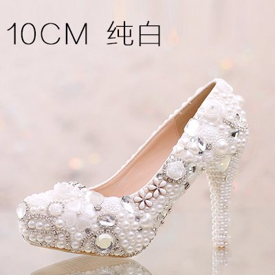 White Shoes 10Cm Diamond 5 Sandals Shoes Women Customized Shoes Heel White Super Higher Prom Pink Waterproof Pure High Pearl 5 Crystal Heeled Beige Wedding Pure Red VIVIOO K4fRzWyA1