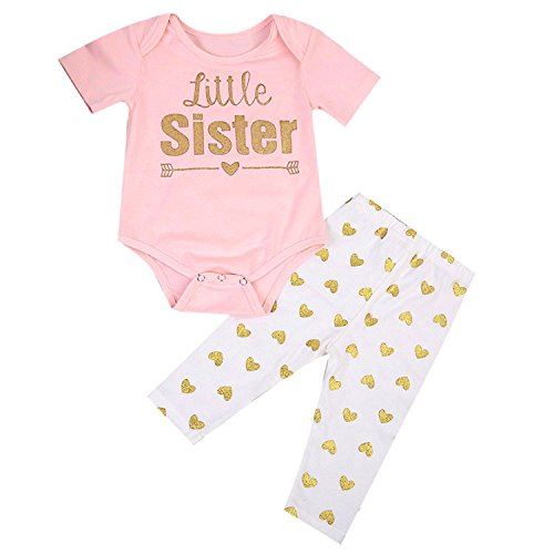 BELS Baby Girls Twins Big Sister T-shirt Little Sister Romper+Long Pants Outfits (6-12M, (Big Sister Twins)