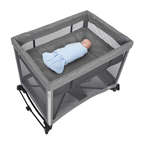 41k01dC9UaL - HALO 3-in-1 DreamNest Plus Bassinet, Portable Crib, Travel Cot With Rocking Attachment, Breathable Mesh Mattress, Easy To Fold Pack And Play