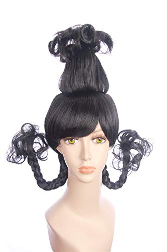 fbewig: Cindy Lou Who Wig Inspired of How the Grinch Stole Christmas! Braided Pigtails Prestyled Spiky Wig for Girls and Teens (black) -