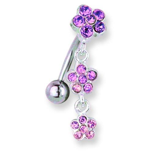 13//32 Jewelry by Sweet Pea SGSS Curv BB w Upside Down Gem Charm 14G Long 11mm 1.6mm
