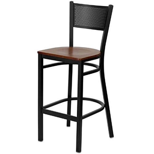 (Modern Style Metal Barstool Dining Room Restaurant Pub Lounge Commercial Grid Back Design Chair Powder Coated Frame Finish Home Office Furniture - (1) Cherry Wood Seat #2151 )