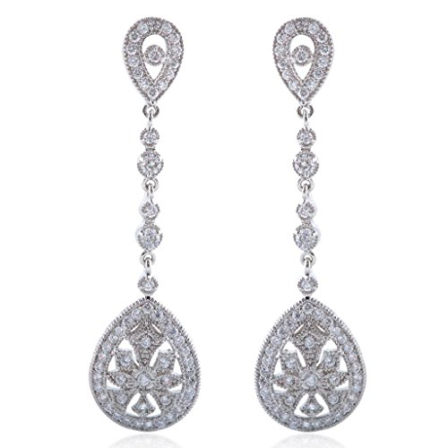 EVER FAITH Bridal Art Deco Classical Gatsby Inspired Pave Cubic Zirconia Chandelier Earrings
