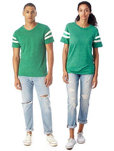 Alternative Men's Short Sleeve Football Tee, True Green/Ivory, Small