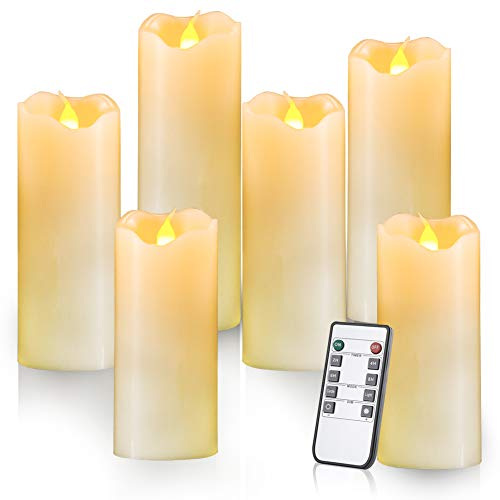 Homemory Flameless Candles Pack of 6 (H556678 x D2) Battery Operated LED Pillar Real Wax Flickering Electric Unscented Candles with Remote Control Cycling 24 Hours Timer