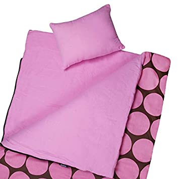 Wildkin Original Sleeping Bag, Features Matching Travel Pillow and Coordinating Storage Bag, Perfect for Sleeping On-the-Go Big Dot Pink