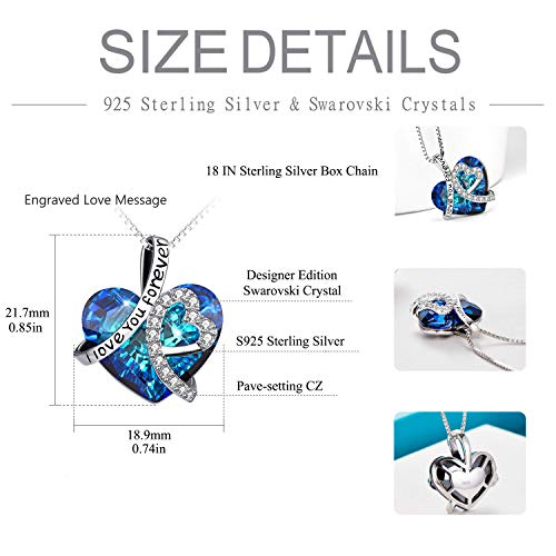 "Sterling Silver""I Love You Forever"" Heart Pendant Necklace with Blue Swarovski Crystals 3"