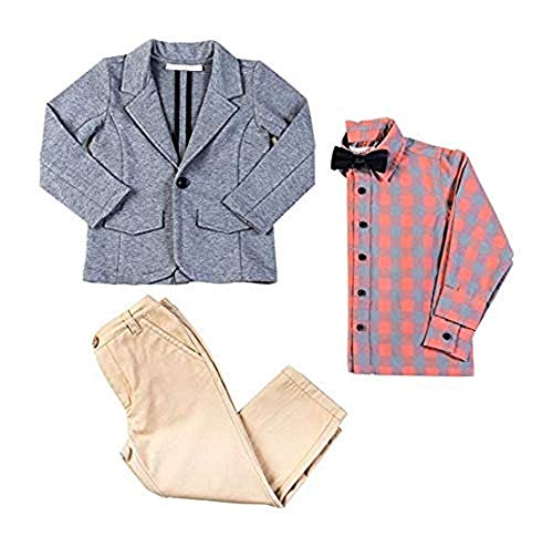 (Kinderkind Kids Little Boys' 3 Piece Knit Blazer Jacket Twill Pants and Button Up Shirt with Removable Bow Tie (4T))