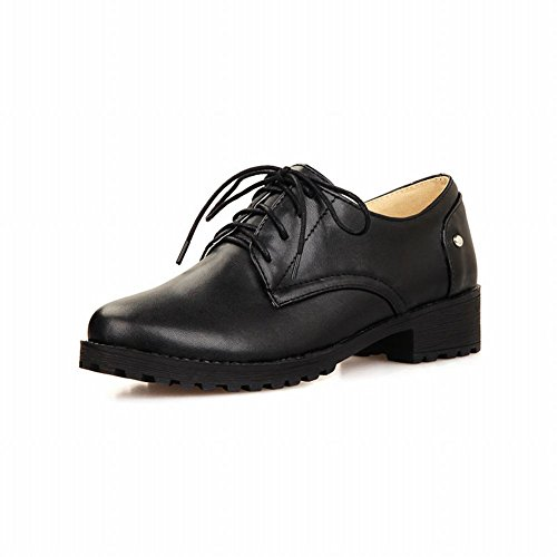 Charm Foot Womens Low Heel Lace up Oxfords Shoes Casual Black dLlyF3