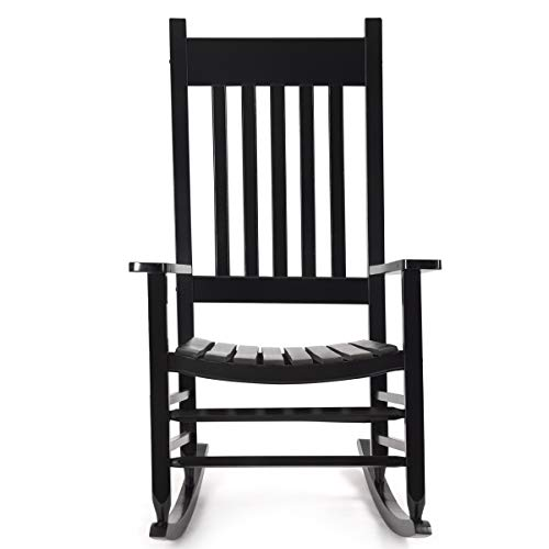 Karlory Outdoor Wood Rocking Chair Porch Rocker 100% Pure Natural Solid Wooden Indoor Deck Patio Backyard Living Room Rocking Chairs (Black)