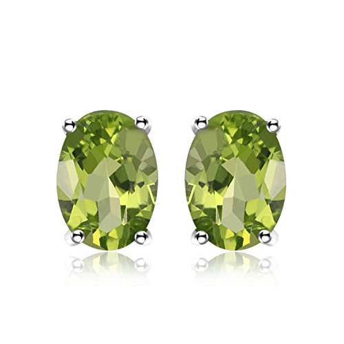Genuine Peridot Stone Ring (JewelryPalace Oval 1.8ct Natural Green Peridot Birthstone Stud Earrings Genuine 925 Sterling Silver)