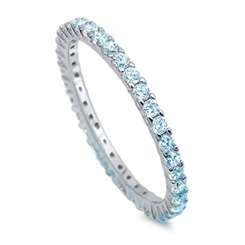 (2mm Full Eternity Stackable Wedding Ring Round Simulated Aquamarine Cubic Zirconia 925 Sterling Silver,)