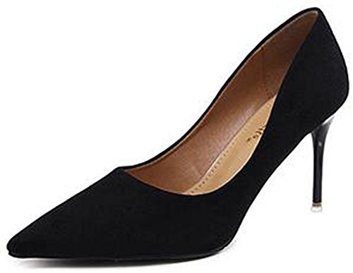 IDIFU Womens Formal Pointed Toe Slip On High Stiletto Heels Office Pumps Shoes Black oBkC3siN