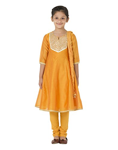 Fabindia Girls Cotton Silk Churidar Set/8-10Yr by Fabindia