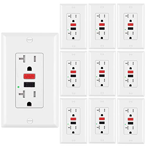 ([10 Pack] BESTTEN 20A Tamper-Resistant GFCI Outlet Receptacles with LED Indicator, Decorative Wall Plates and Screws Included, ETL Certified, White)