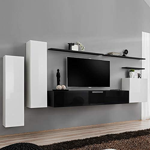 Kasalinea SOLENDRO - Mueble de TV Colgante, Color Blanco y Negro ...
