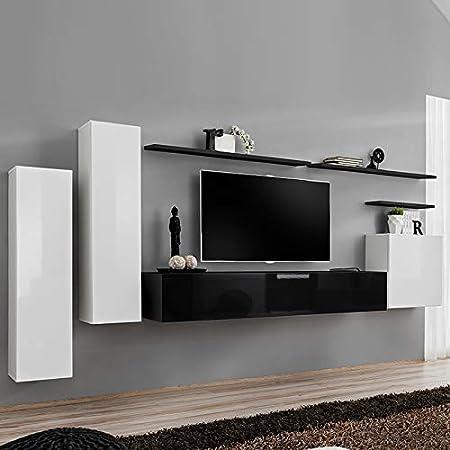 Kasalinea SOLENDRO - Mueble de TV Colgante, Color Blanco y Negro: Amazon.es: Hogar