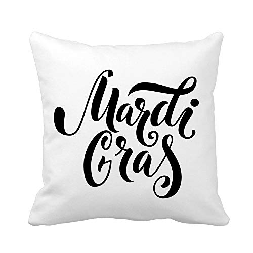 (Awowee Throw Pillow Cover Announcement Mardi Gras Text Black Bold Carnaval Carnival Celebrate 20x20 Inches Pillowcase Home Decorative Square Pillow Case Cushion Cover)