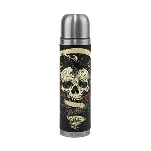 ALAZA Rose Skull Water Bottle Double Wall Stainless Steel Vacuum Insulated Thermos Flask Genuine Leathe Cover 17 Oz 100% Leak Proof