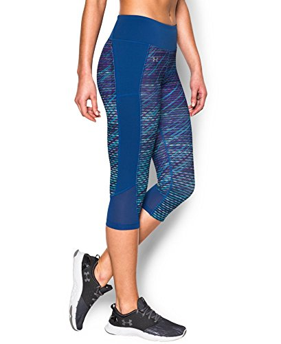 Under Armour Women's Fly-By Printed Run Capri, Sky Blue/Cobalt, X-Small