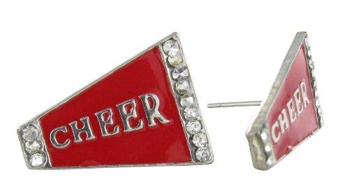 Flat Cheer Megaphone Rhinestone Stud Earrings - Red Enamel with Clear Crystals
