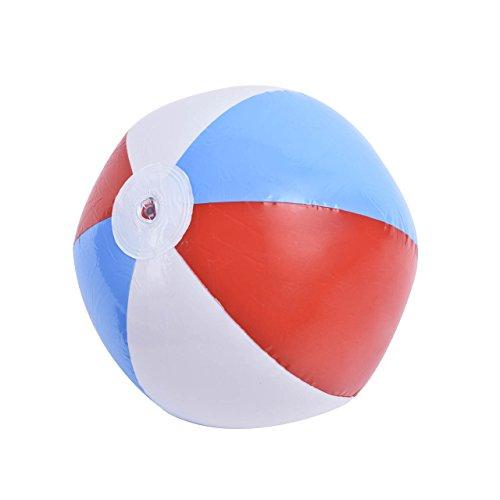 Newcomdigi 1 Stück Wasserball, Strandball, Beach Ball, Aufblasbarer Wasser Bälle, Durchmesser 40cm,bunt in rot-weiss-blau,Wasser Spielzeug für Strand Urlaub, Schwimmbad, Schwimmingpool in Garten, Badeurlaub