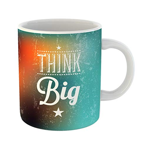 Emvency Coffee Tea Mug Gift 11 Ounces Funny Ceramic Colorful Word Abstract Typographical Quote Think Big Marketing Gifts For Family Friends Coworkers Boss Mug