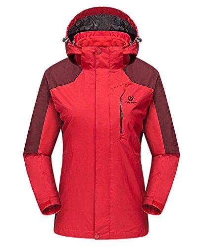 Sports Fleece Wind Coat Liner Dilize Women's Piece Red Jacket Hooded 2 xAAtzW6n