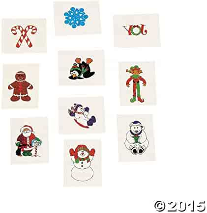 72 Christmas Holiday Glitter Temporary Tattoos