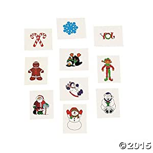 72 Christmas Holiday Glitter Temporary Tattoos