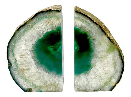 Agate Set Green (Dream Gem: Polished Agate Stone Bookends Pair (Green, 3-4LBS))