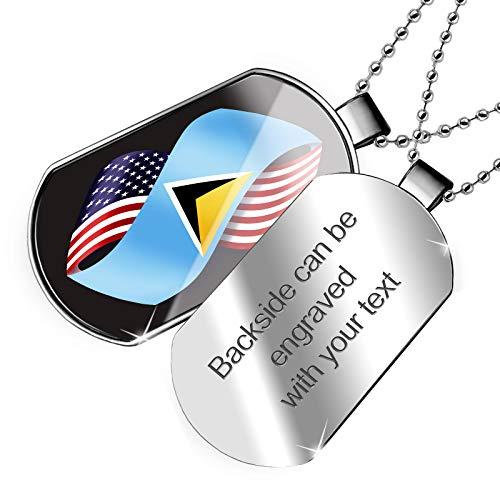 (NEONBLOND Personalized Name Engraved Friendship Flags USA and St. Lucia Dogtag)