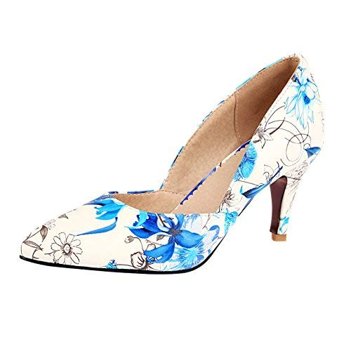 - Charm Foot Women's Floral Print High Heel Pumps Shoes (9, Blue)