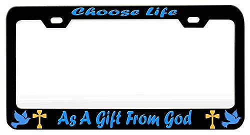 Choose Life As A Gift from God 1 Metal License Plate Cover Holder for Car Front Back Decor