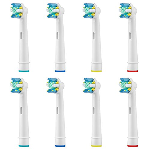 Electric Toothbrush Replacement Heads Compatible With Braun Oral-b Pro 500 1000 1500 3000 5000 6000 8000 9000 Vitality, Triumph & More (25A-8-pro)