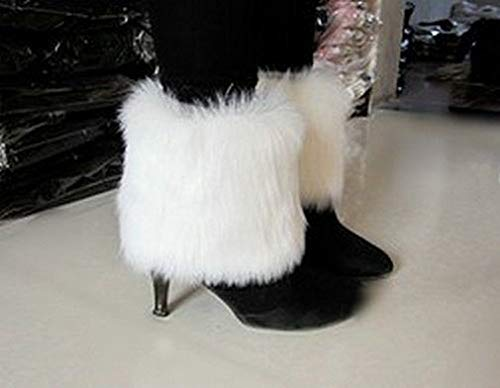 ForShop White Boot Cuff Fluffy Soft Furry Faux Fur Leg Warmers Boot Toppers Shoes Cover ()