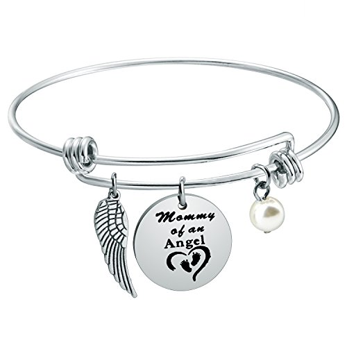 WUSUANED Baby Memorial Jewelry Miscarriage Bracelet Mommy of an Angel  Bracelet Sympathy Gift for Infant Loss (Mommy of an Angel)