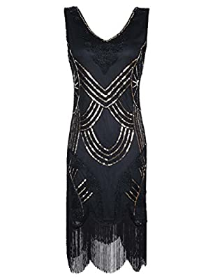 KAYAMIYA Women's Retro 1920s Beaded Sequined Floral Fringe Gatsby Flapper Dress