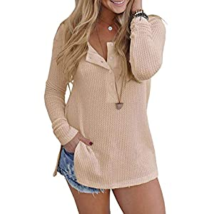 Yidarton Womens Waffle Knit Tunic Blouse Henley Tops Loose Fitting Plain Shirts