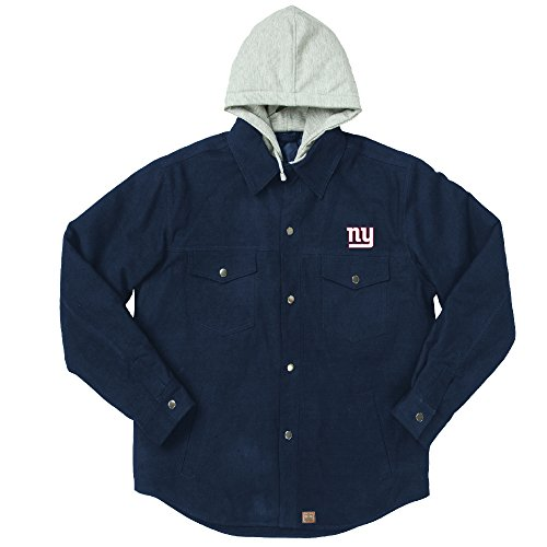 NFL New York Giants Dukane Canvas Quilt Lined Jersey Hooded Jacket, Navy, X-Large (Giants Stadium Replica)
