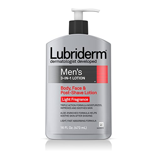 - Lubriderm Men's 3-In-1 Lotion Enriched with Soothing Aloe for Body and Face, Non-Greasy Post Shave Moisturizer with Light Fragrance, 16 fl. oz