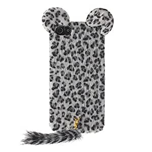 DD Trendy Leopard Print Flocking Hard Case with Fluffy Tail and Cute Mouse Ears for iPhone 5/5S
