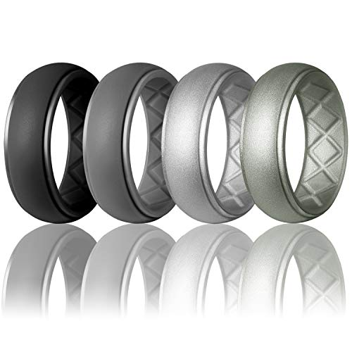 Egnaro Silicone Wedding Ring for Men, Particularly Breathable Mens' Rubber Wedding Bands, Size 8 9 10 11 12 13, for Athletes Crossfit Workout ()