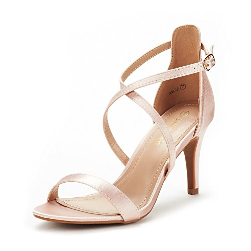 DREAM PAIRS Women's Dolce Champagne Fashion Stilettos Open Toe Pump Heel Sandals Size 8 B(M) US