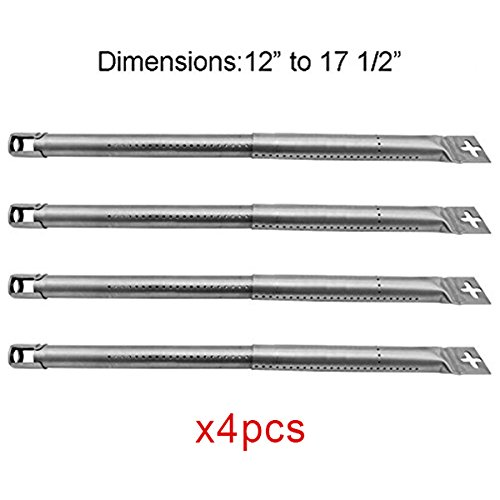 FAS INDUSTRY 42204 Stainless Steel Tube Burner Replacement for Gas Grill (4-Pack), Adjustable Pipe Burner 12'' to 17 1/2'', BBQ Barbecue Grill Burner Replacement Part by FAS INDUSTRY