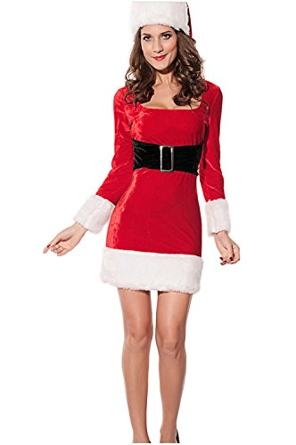 Mrs Claus Costume Dress (NuoReel Women's 2PC Mrs Santa Claus Dress Costume One Size Red)