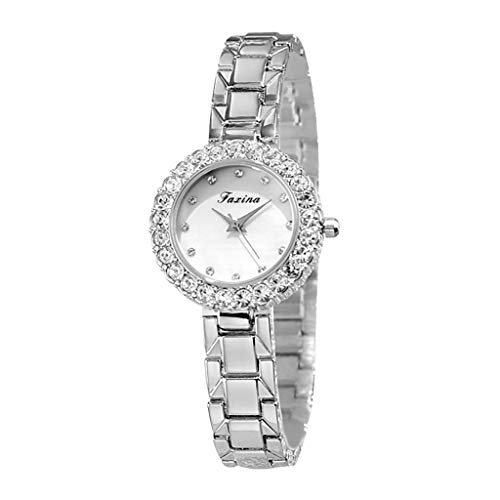 LUCAMORE Women's Dressy Watch with White Dial, Crystal-Accented Bezel and Stainless Steel ()