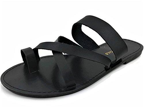 Fashion Metric Toe Ring Sandal Slip On Over Toe Double Strap Flat Black