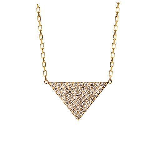 Unique 18k gold 0.25ct flash diamond necklace rose gold triangle temperament diamond pendant birthday gift present necklace for women