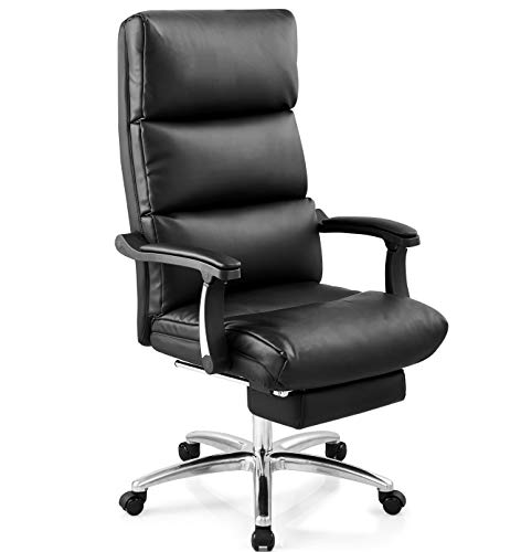 Ticova Leather Office Chair - High Back Executive Chair with Thick Padding and Textured Leather - Reclining Computer Chair with Footrest and Ergonomic Segmented Back, Black (Best Office Chair With Footrest)